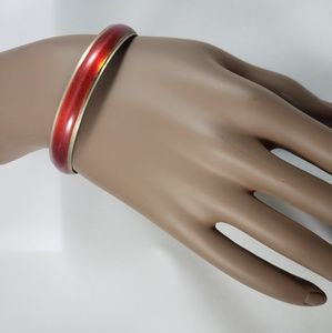 Jewelry - Red Bangle Bracelet Silver Tone